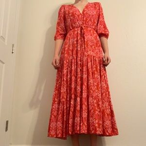 Long Red Patterned Maxi Dress